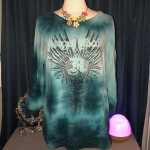 Plus size teal 3/4 sleeve t-shirt